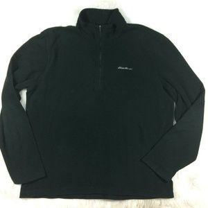 Eddie Bauer Black Pullover Fleece Sweater Jacket
